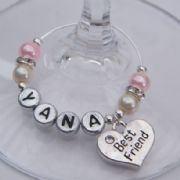 Best Friend Personalised Wine Glass Charm - Elegance Style
